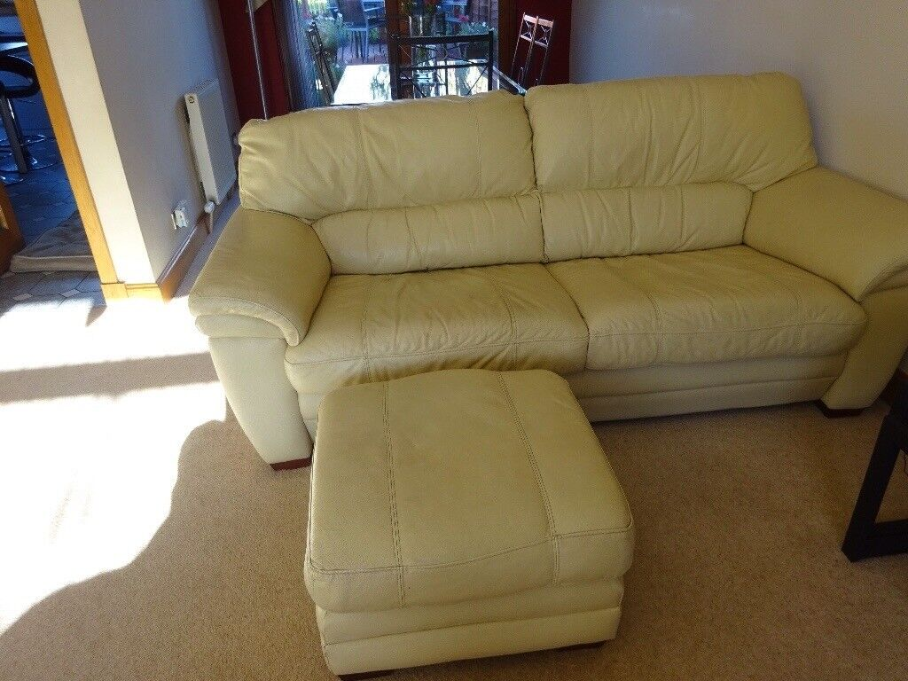 Cream leather 3 seater sofa with matching stool