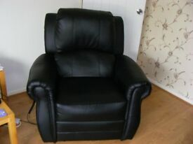 black faux leather electric reclining chair