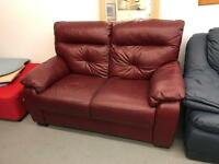 Deep red leather 2 seater sofa (smoke free home)