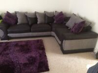 Corner Left L-Shape Sofa (Gray and Black) 2 Years old.