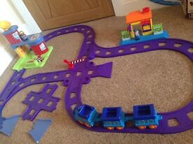 Happyland train, track and buildings