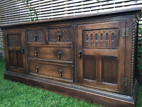 Magnificent large antique solid wood sideboard, 193.5cm L