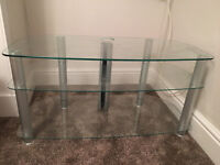 glass tv stand 3 shelves. Excellent condition