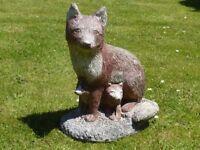 Nice Vintage Cast Stone Fox & Cubs Garden Ornament Statue 43cm tall