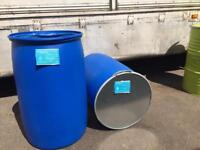 220 Litre plastic wide mouth shipping barrels with new lid and clamp