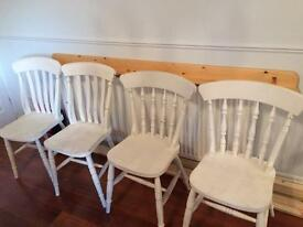 4 x shabby chic white chairs