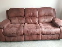 3 seater reclining brushed leather settee