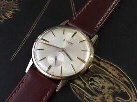 Vintage solid 9ct 9k gold Accusist Mens swiss watch