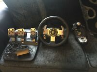 Logitech g27 racing wheel, pedals and shifter set