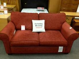 Sofa bed upholstered in red fabric - British Heart Foundation sco39426