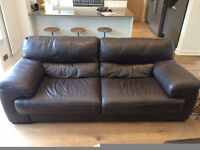 Sofology Leather 3 Piece Suite. Brown leather suite including 3 seater sofa, large chair, footstool