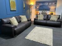 Stunning brown leather suite Matt effect 3 seater sofas x 2