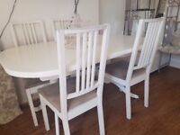 Beautiful white dining table & 6 chairs £115