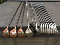 Used set of LEFT HANDED Niklaus Graphite shaft irons + Taylor made 1,3,5 woods+ Callaway driver+bag