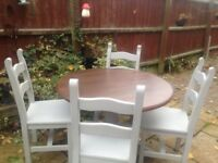 Solid pine table and chairs shabby chic Annie Sloan