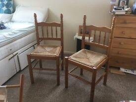 Pine chairs x 2