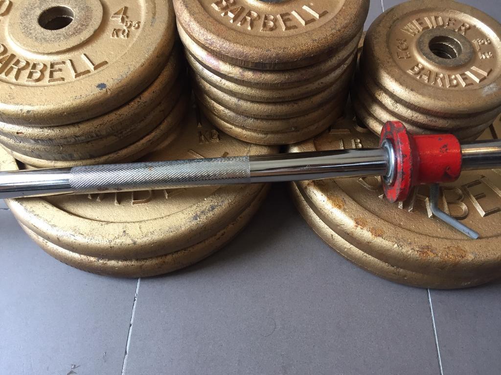 Vintage Weider Iron Weights Set (1960) Barbell