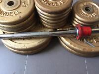 Vintage Weider Iron Weights Set (1960) Barbell