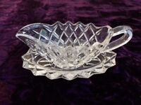 Beautiful Glass Cream Jug And Stand / Drip Tray