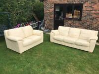 2&3 seater cream leather sofas can deliver
