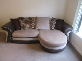 Matching sofa, swivel chair and footstool