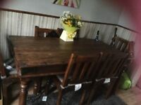 Heavy Duty Indian Wood Table and 6 chairs