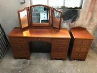 Solid cherry wood dressing table and bedside table for sale