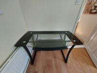 Desk, black glass