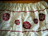 Pair of pretty red and white/cream curtains