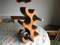 6 bottle wine rack in carved wood
