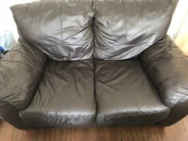 STILL AVAILABLE ** FREE FOR COLLECTION ** Three seater and two seater brown leather sofa
