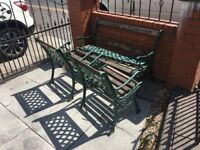 cast iron garden furniture Table, Bench & Chairs For Refurbishment- delivery or collection