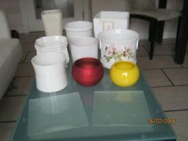 Collection of nine indoor plant pots - glazed ceramic