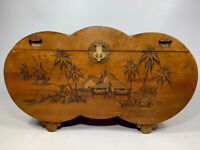 *SALE PRICE* Antique Camphor wood Trunk with Oriental Hand Carved Designs Vintage Retro