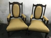 🎅 FREE DELIVERY A PAIR OF VINTAGE CHAIRS WITH NEW FABRIC