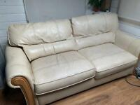 3 Seater Sofa Bed - Cream Leather