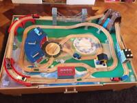 Kids wooden train set and table