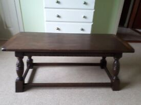 Dark solid oak coffee table