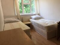 A good size TWIN ROOM for 2 shares or a couple in a clean flatshare, shops, transport