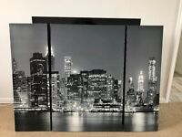 New York At Night Triptych Canvas - Wall Art - Picture