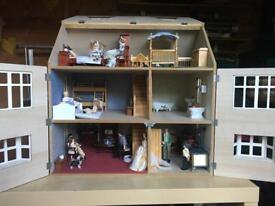 Vintage large dolls house complete set