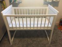 Baby wooden white crib rocking or non rocking
