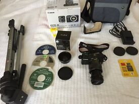 Canon EOS M 18-55 digital camera with accessories