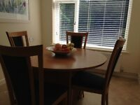 Dining room table and 6 chairs - light oak