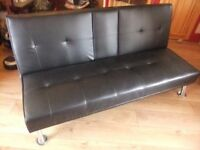 black faux sofa bed
