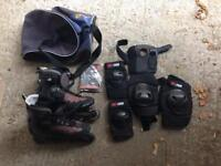 Rollerblades with arm pads and knee pads. Booklet and Alan keys. Plus the sports bag