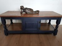 LOCAL DELIVERY Vintage oak old charm storage coffee table rustic navy blue shabby chic