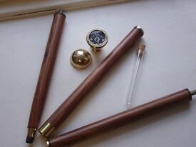 Walking cane with compass and small whisky flask great Christmas gift