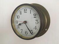 Vintage Nautical Bulkhead Ships Maritime Brass Clock Battery