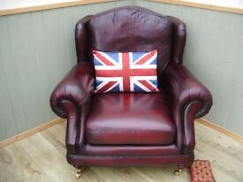 Stunning Oxblood Leather Chesterfield Chair.